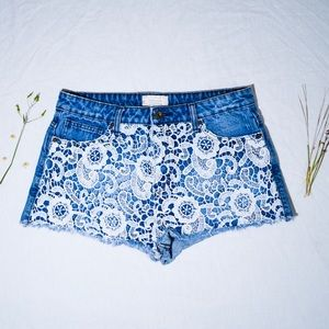 Forever 21 - Floral Design, High Rise Jean Shorts